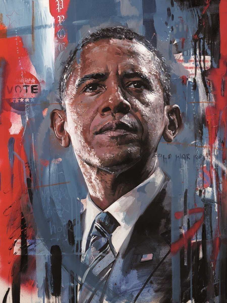 Barack Obama by Zinsky -  sized 12x16 inches. Available from Whitewall Galleries
